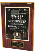 2018 Super Lawyers Rising Star by the New York Times - Plaque